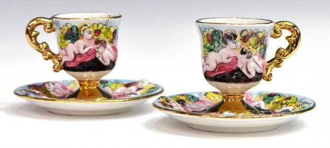 (21) COLLECTION OF PARCEL GILT TEA CUPS & SAUCERS : Lot 925