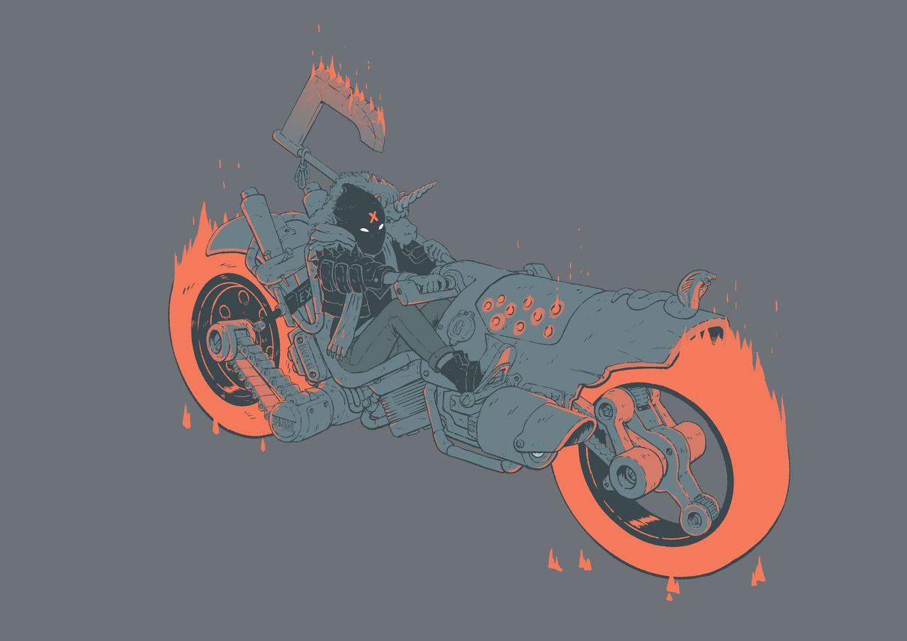 Fire bike dudewas meant to be an inktober piece art
