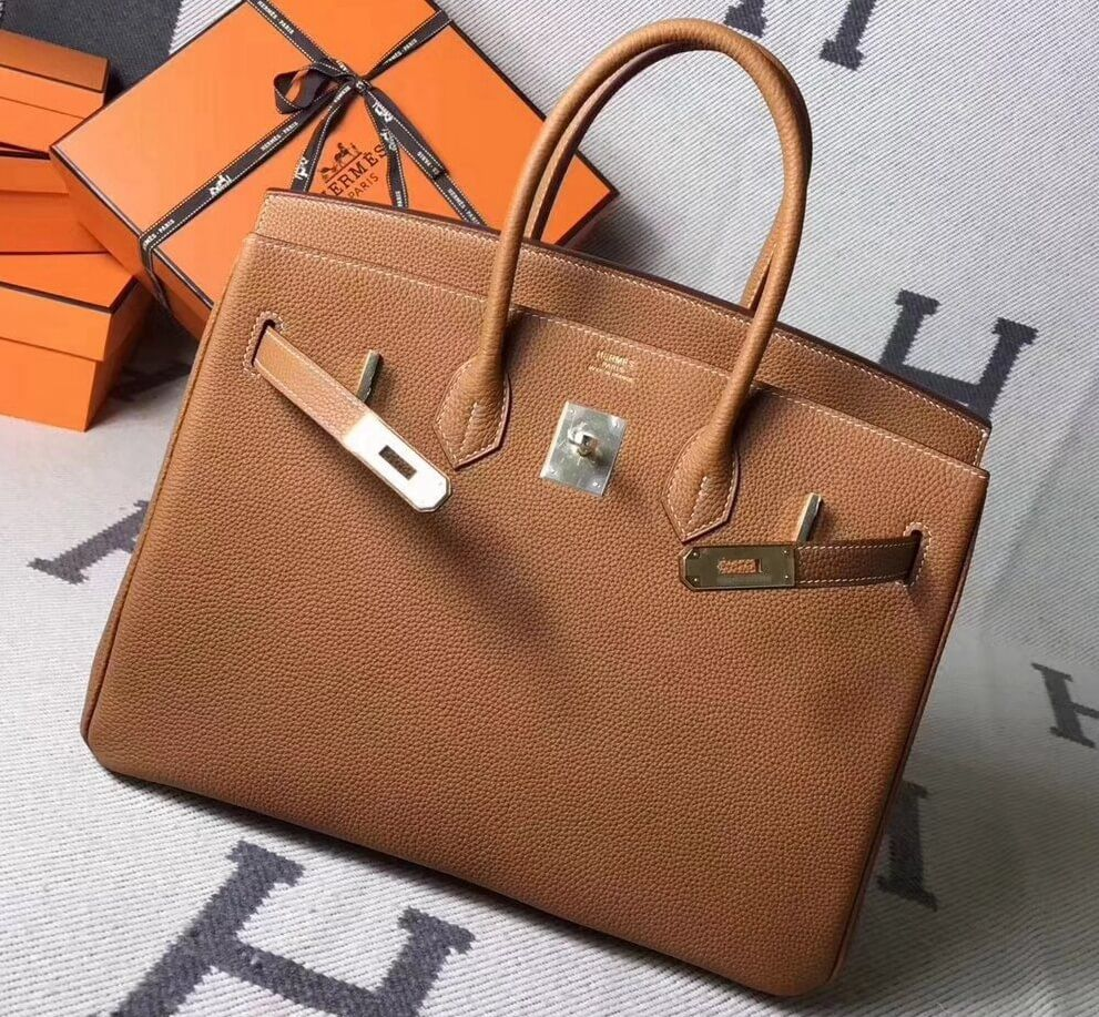 87392498fd0 Hermes Original Togo Leather Birkin 25 30 35 Handbag Tan (Gole-tone  Hardware)