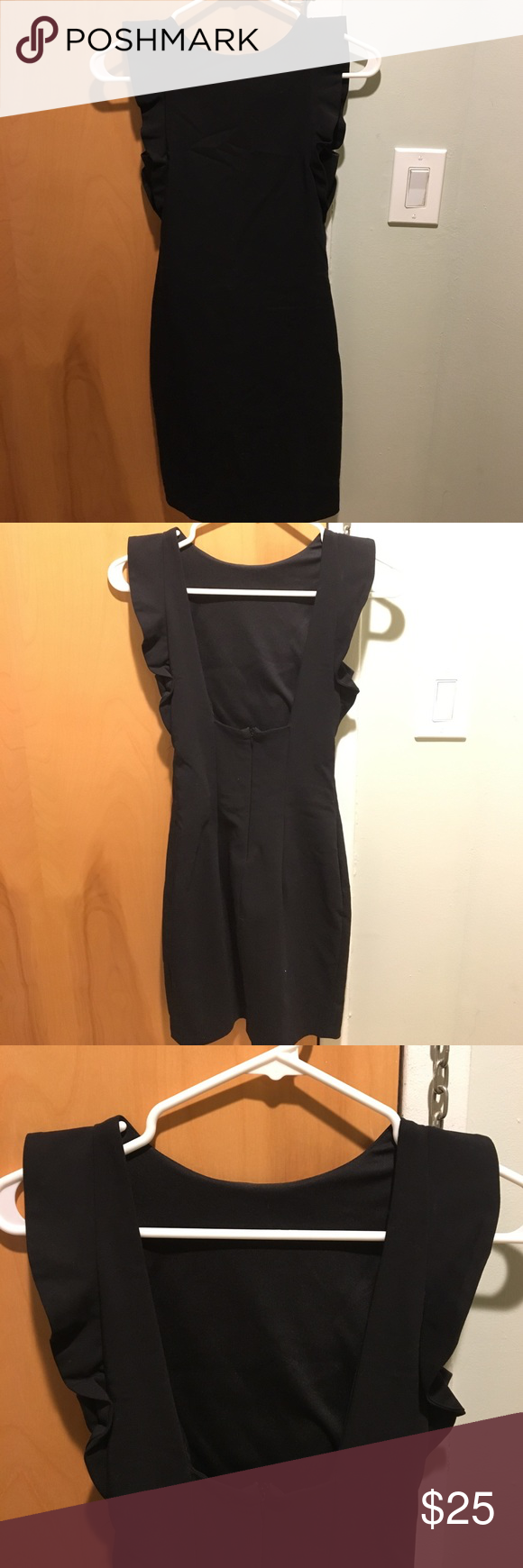 LBD from Zara. Size XS Super sexy LBD from Zara. Ruffled shoulder detail. Square cut out back. Very flattering and form fitting. Doesn't fit anymore. Size XS Zara Dresses Mini