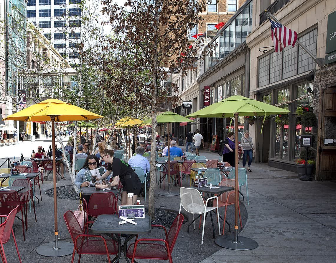 Nicollet mall sidewalk cafes include tables outside the local barrio and randles between 9th and 10th streets in downtown minneapolis