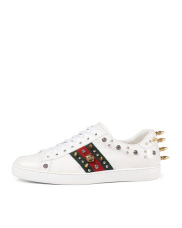 b18fd4199e3 GUCCI New Ace Studded Leather Low-Top Sneaker