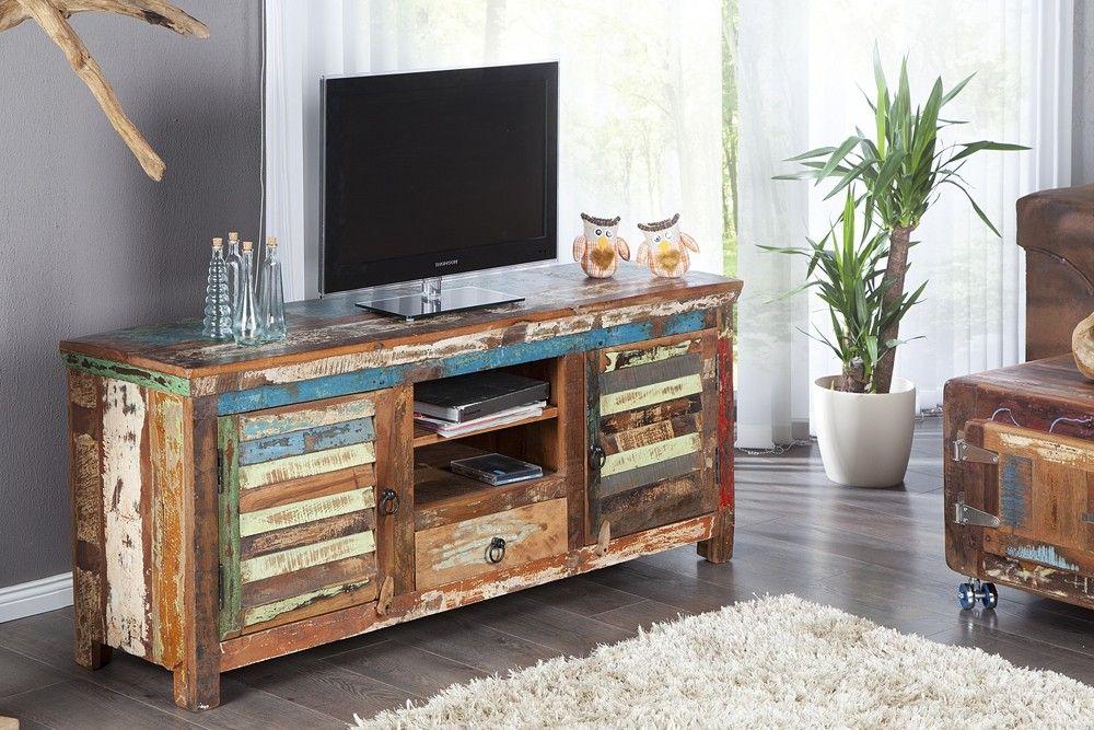 attrayant Livraison rapide - Original meuble TV solide fait en bois massif recyclé,  dispose au milieu du0027un tiroir du bas et 2 étagères au-dessus, 2 portes en  bois en ...