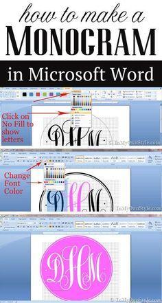 How To Create A Monogram Using Microsoft Word Monogrammer Kort
