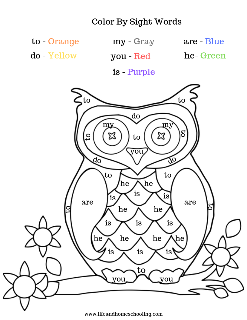 Color by sight words. 12 pages, over 20 sight words to ...