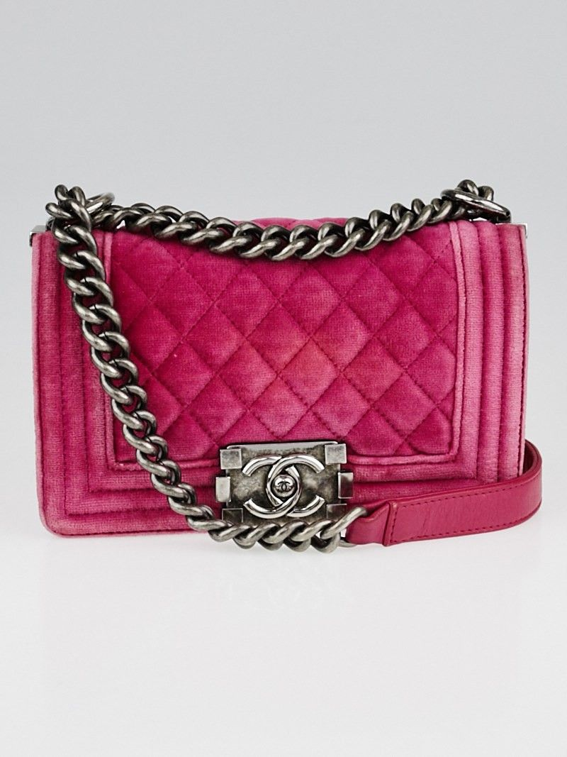 5875c54d857d6a Chanel Pink Quilted Velvet Small Boy Bag | Bags & Wallets | Used ...