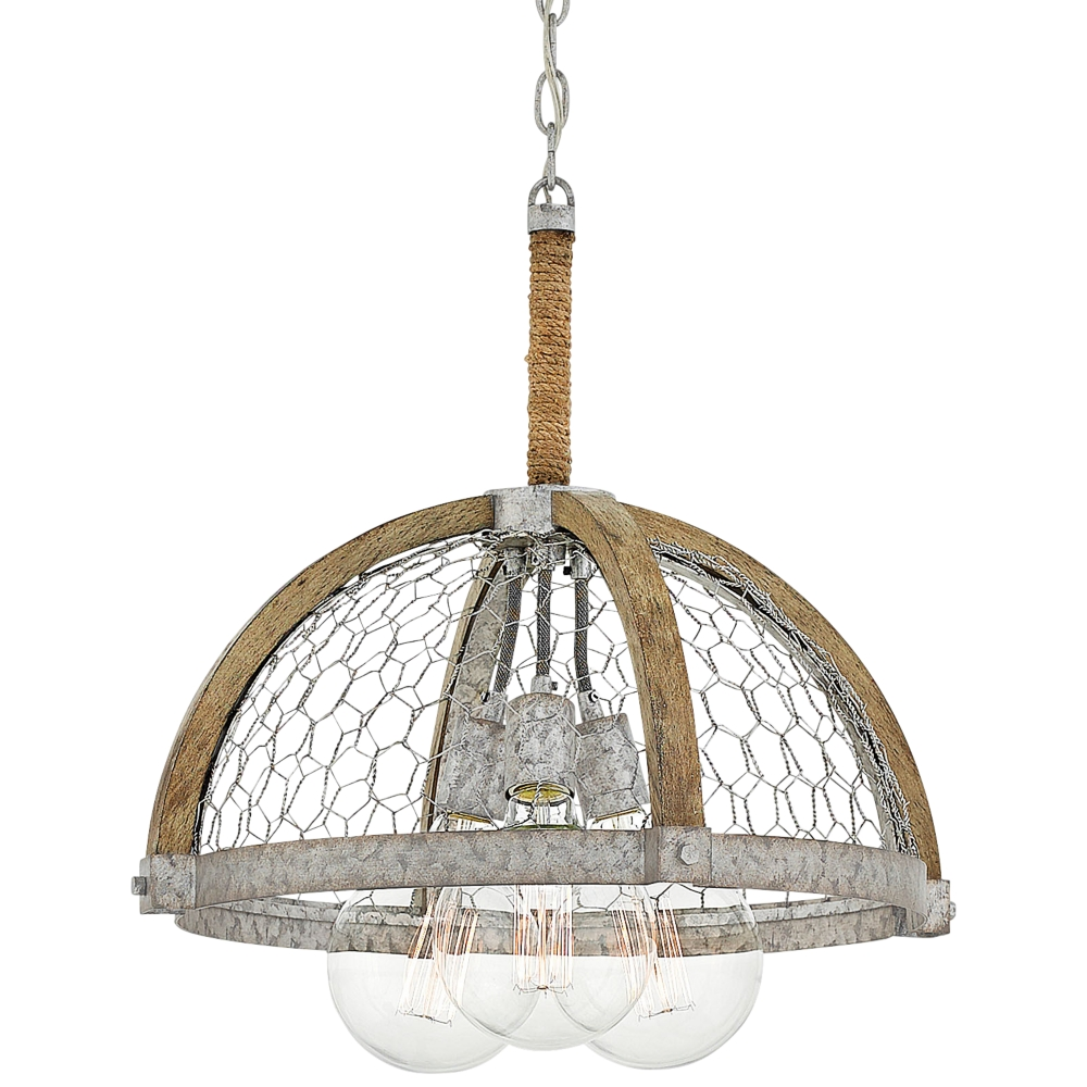 Best Hinkley Heywood 19 Wide Weathered Zinc 3 Light Pendant 400 x 300