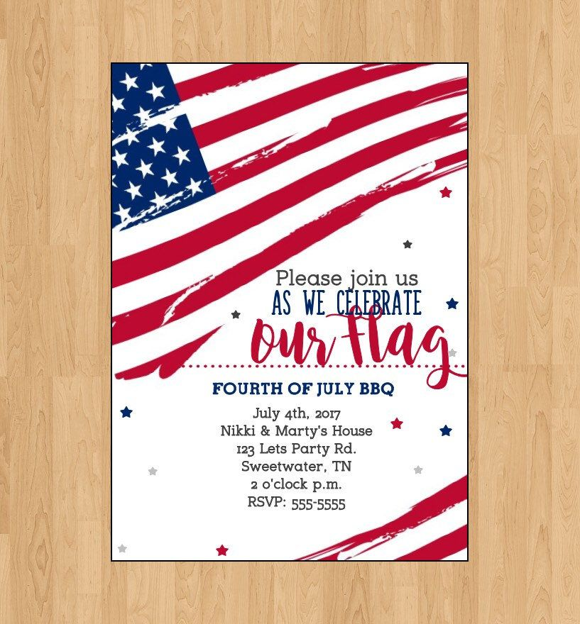 4th of july invitation fourth of july bbq red white blue invitation