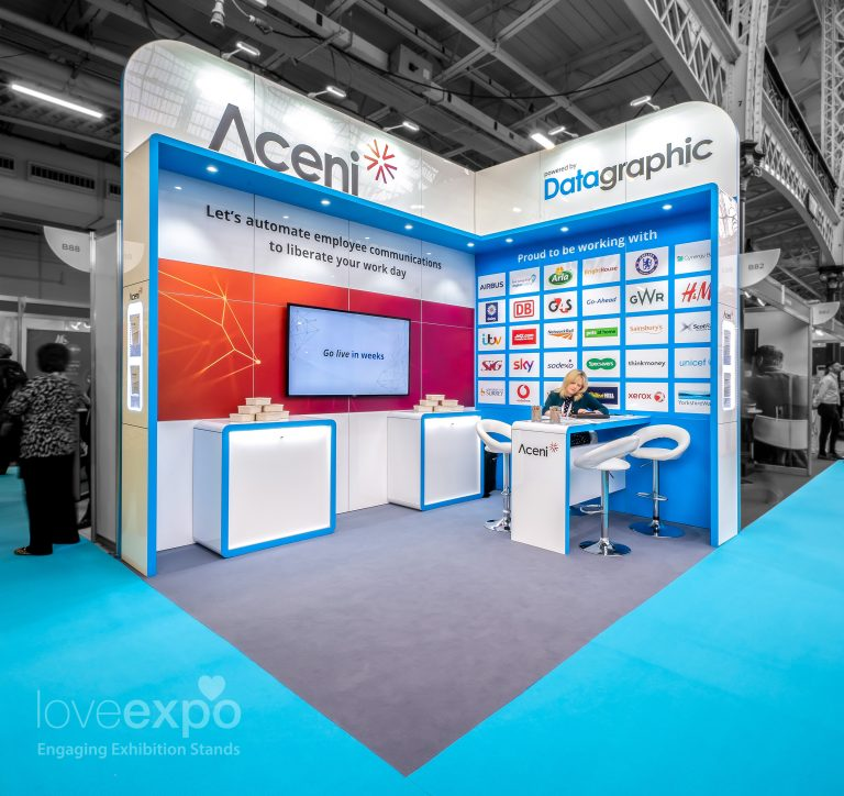 4m x 3m Exhibition Stand open 2 sides designed and built by Love Expo, UK #design #build #install #exhibitionstand #standbuild #customstand