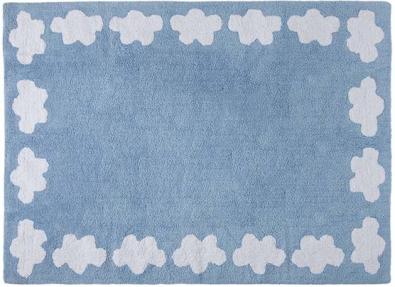 Decoiluzion alfombra infantil cenefa nubes azul for Alfombra infantil azul