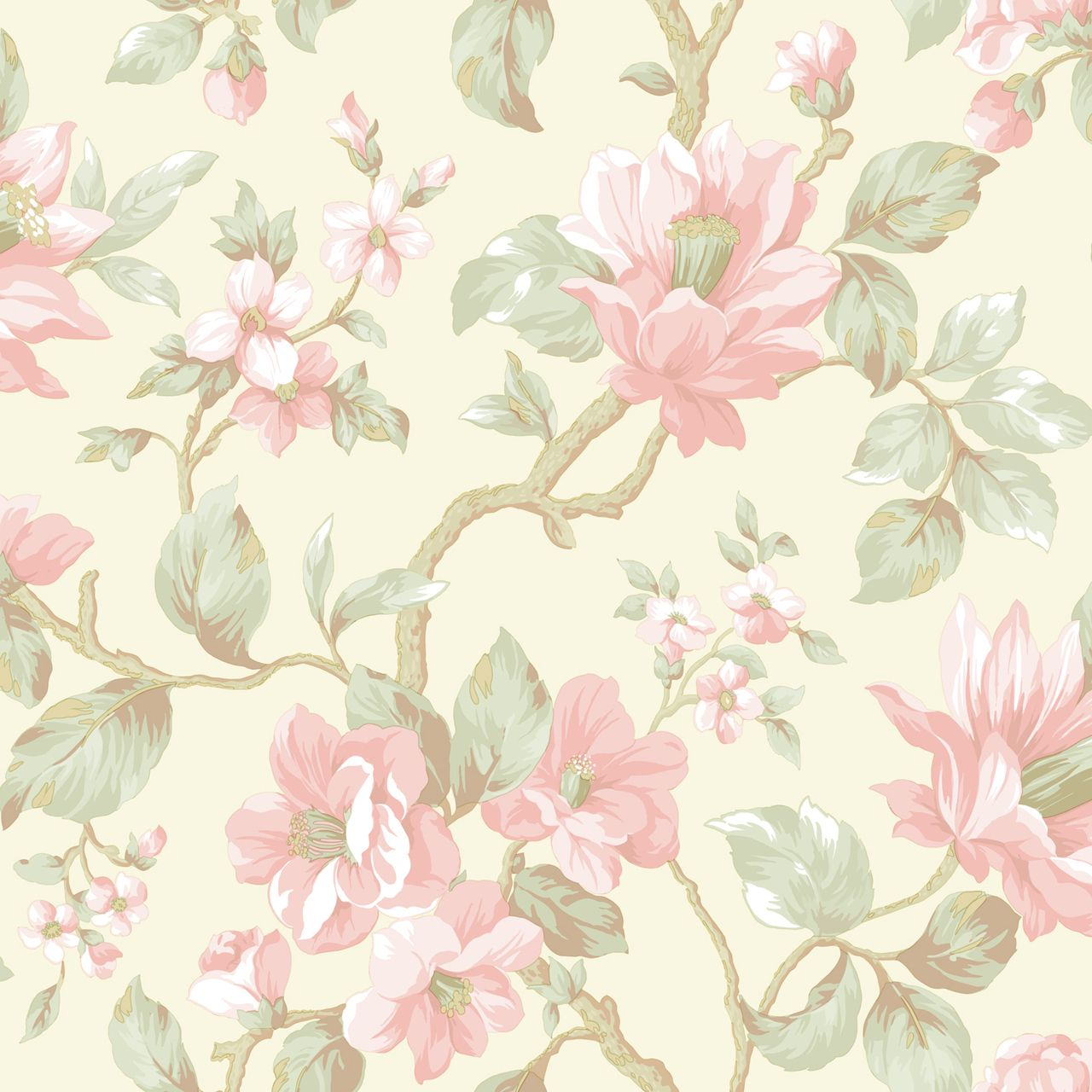 AL13721 Berkin Olive Large Floral Vine Wallpaper Pearl