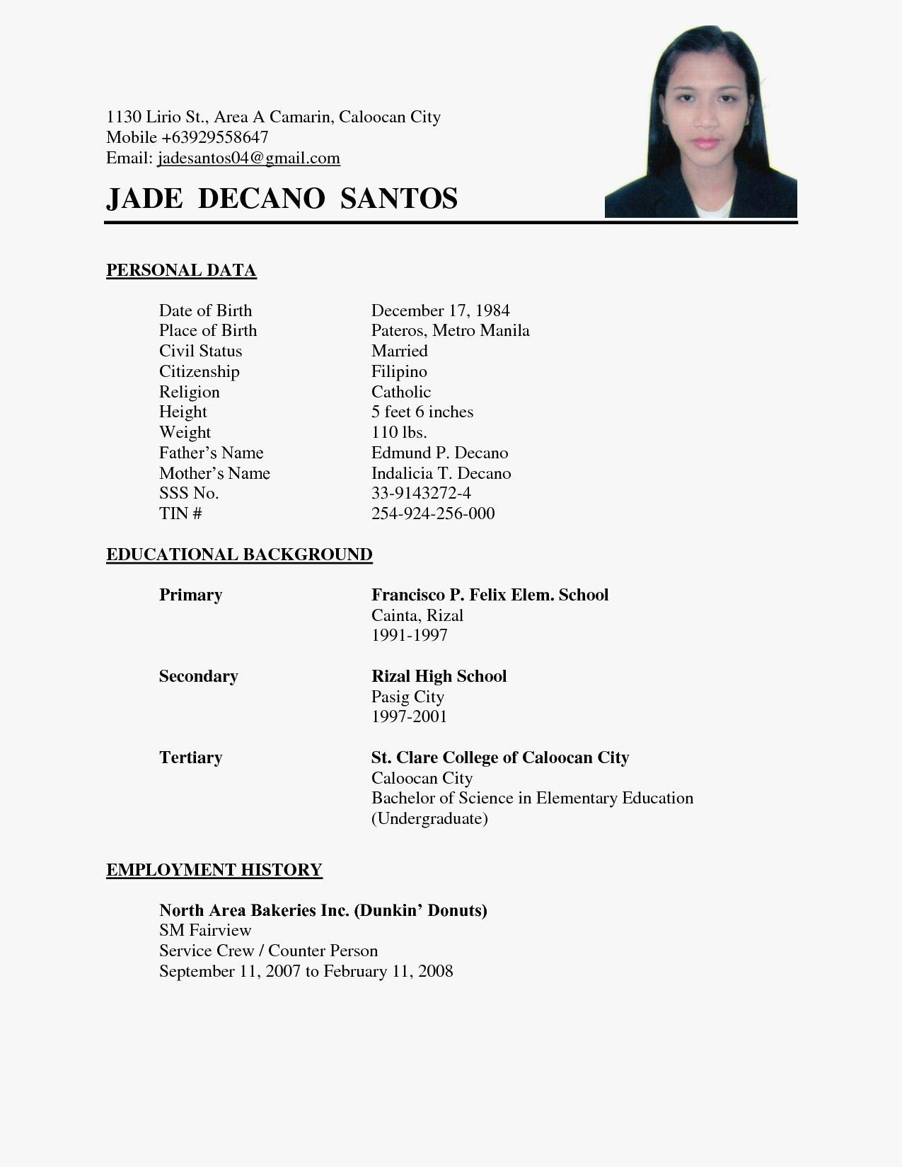 Job Application Simple Resume Format Best Resume Examples