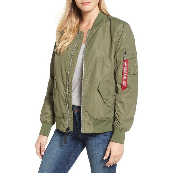 Alpha Industries Women/'s Sage Green Water Resistant MA-1 Long Jacket $180