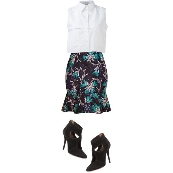 A fashion look from February 2015 featuring KIMEM tops, Mary Katrantzou skirts and Aquazzura ankle booties. Browse and shop related looks.