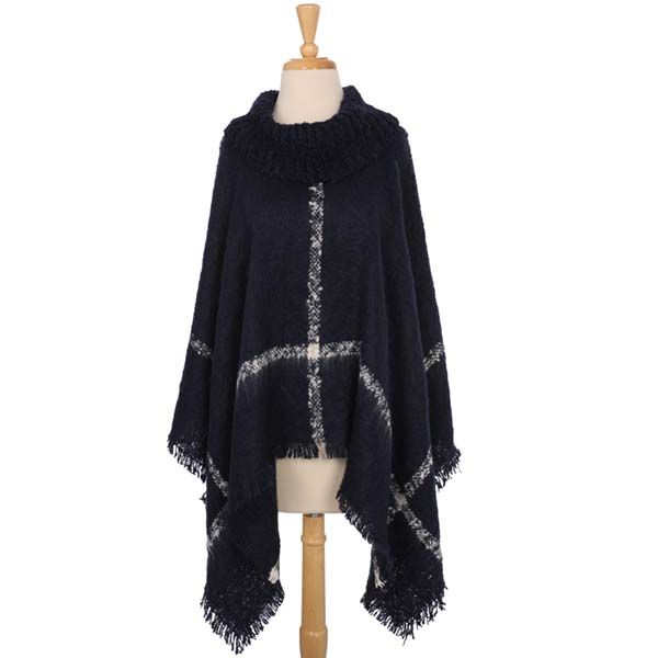Check out the deal on Navy Rib Knit Neck Poncho at The Paper Store