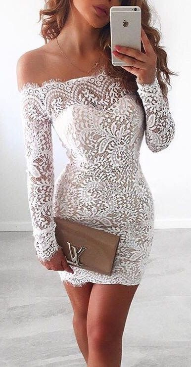 305a0afa7d2 White Homecoming Dress,Lace Homecoming Gown,Bodice Sexy Mini Dress,Off The  Shoulder Long Sleeves .