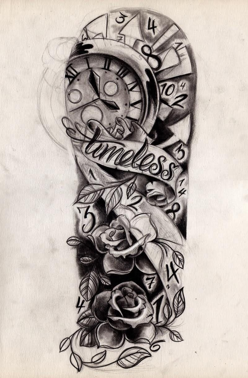 Traditional Rose Flowers And Clock Tattoo Design For Half Sleeve