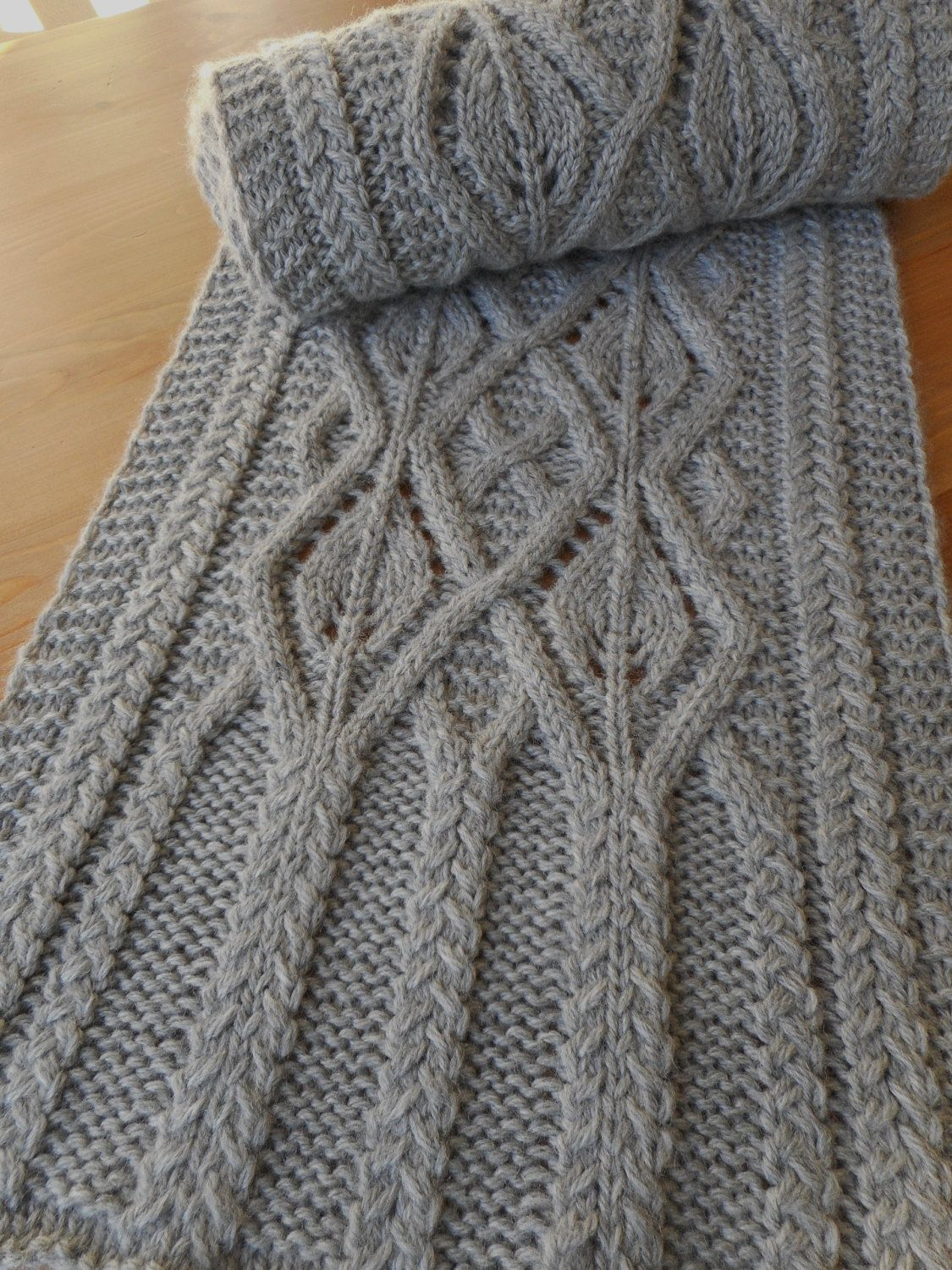 Pattern To Knit Newscastle Manor Scarf Cables Eyelets Worsted