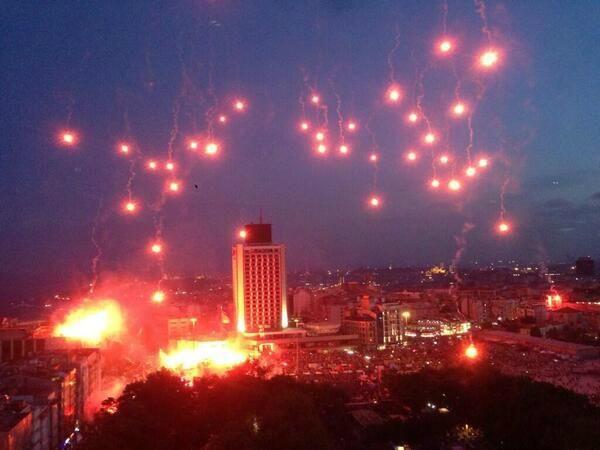 Fenerbahçe Beşiktaş and Galatasaray fans anti-government protest at Taksim Square Istanbul Turkey