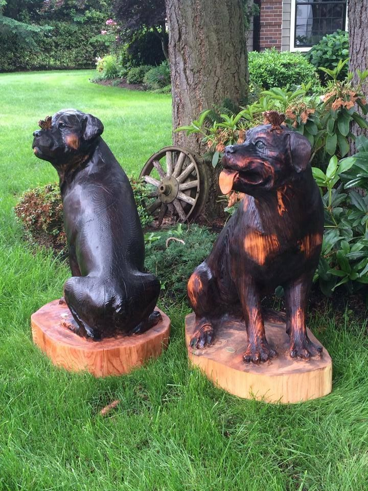 Rottweilers chainsaw carving and art bob king