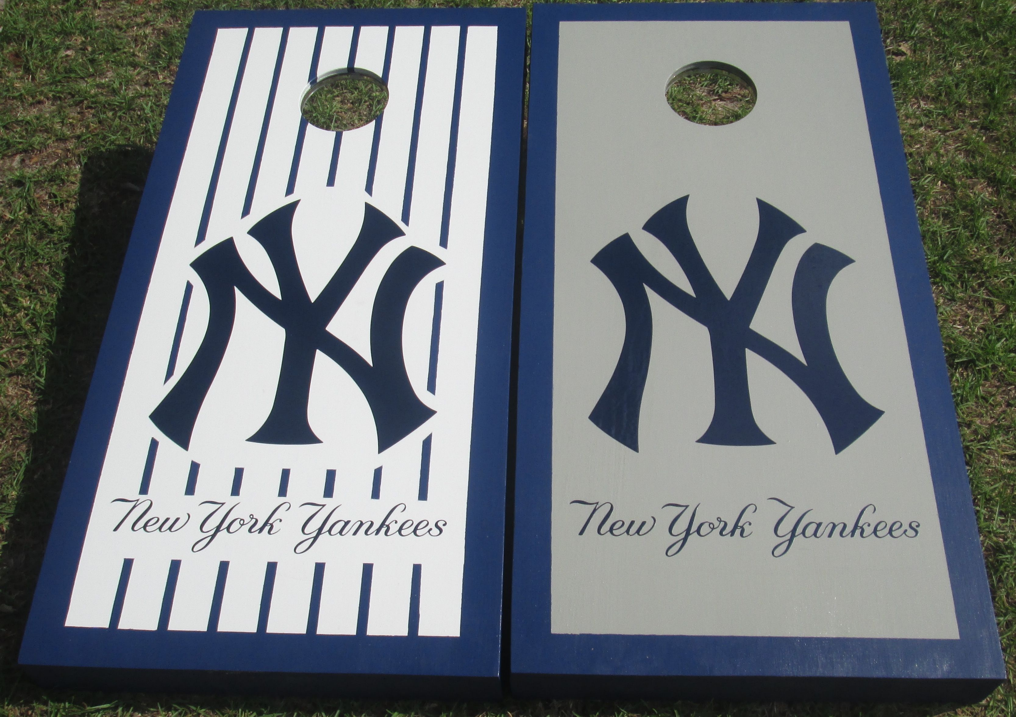 Home Away New York Yankee Jersey Inspired Boards By Request Cornhole Boards Designs Cornhole Designs Photo Craft
