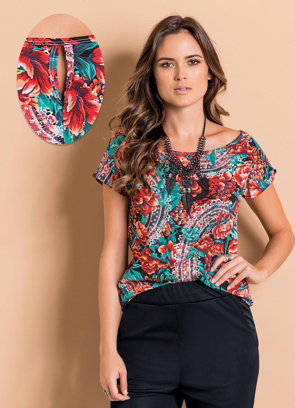 32e131edfe Blusa Decote Canoa Floral com Detalhe em Gota - Moda Pop