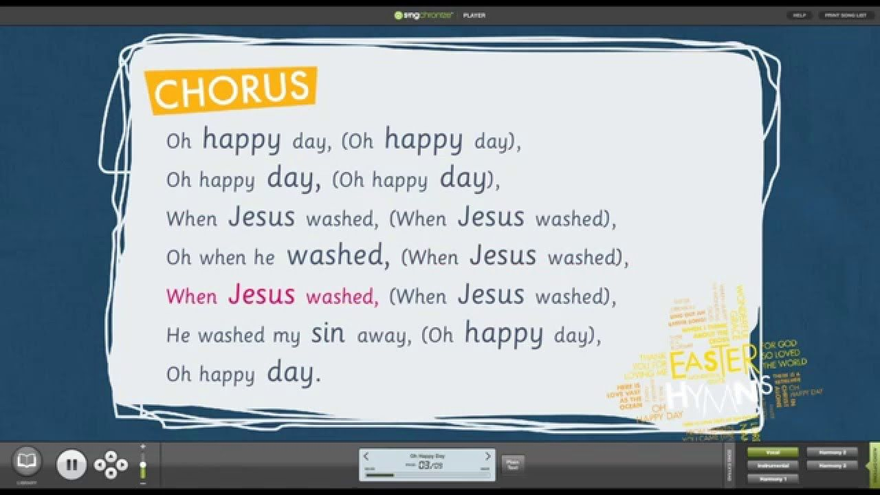 Easter Song For The Classroom Have A Look At Our Words On Screen Player In Full Swing Demonstrating How It P Easter Songs For Kids School Songs Singing School