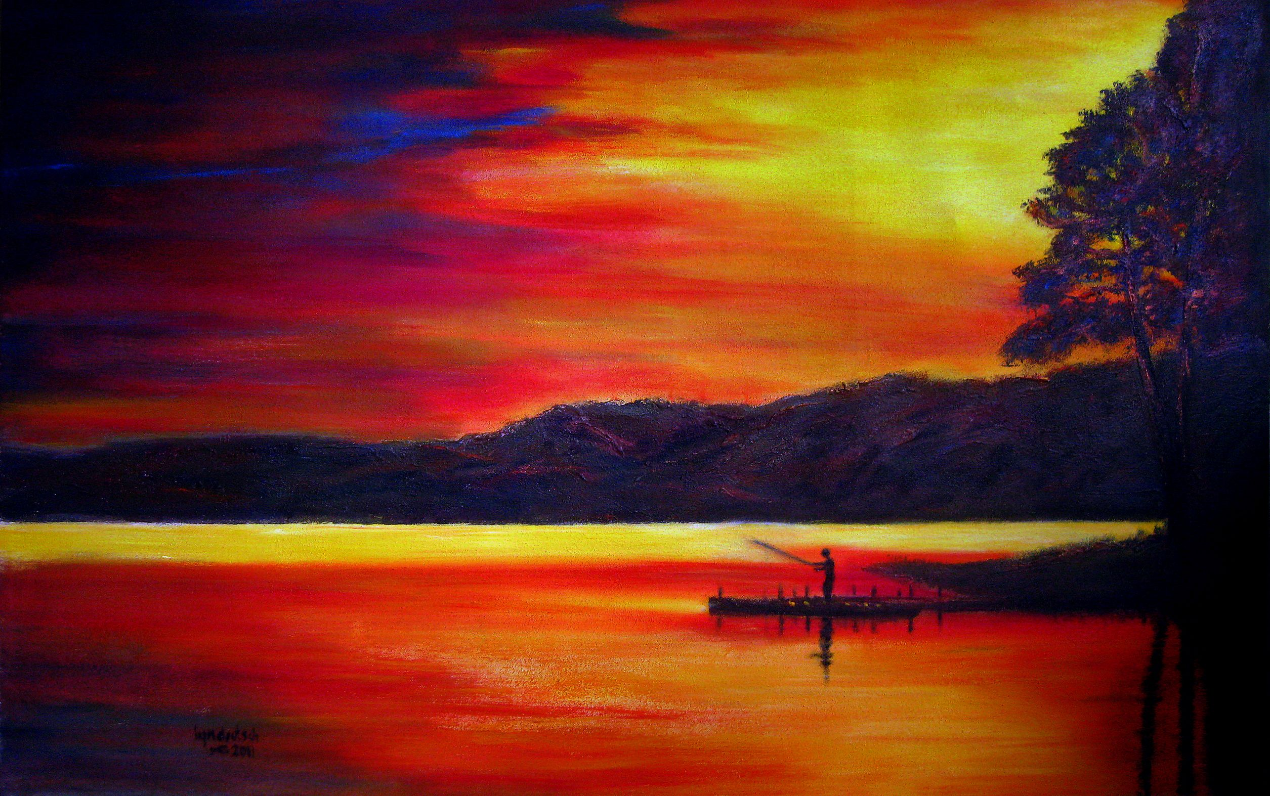 how to paint sunrise and sunset Acrylic Sunset Paintings