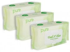 Pure Fresh N' Clean Natural Face Hand And Baby Wet Wipes Unscented And Free;