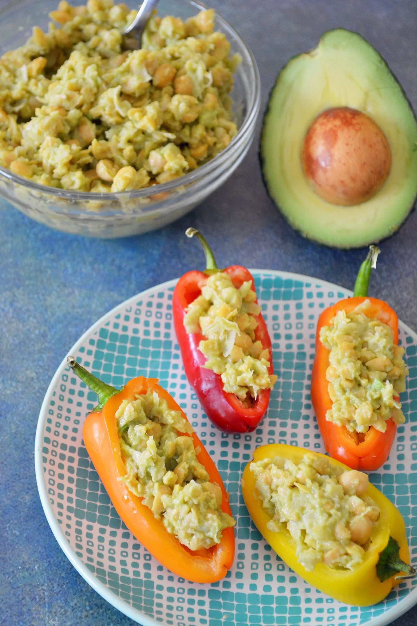 Smashed Chickpea Salad Stuffed Mini Sweet Peppers Power Your Lunchbox Recipe In 2020 Stuffed Peppers Stuffed Sweet Peppers Chickpea Salad