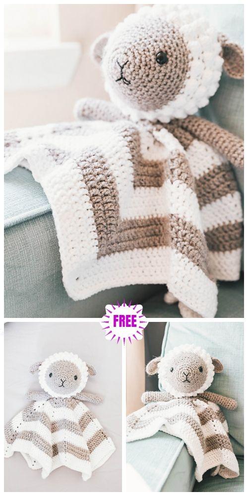 Crochet Lamb Baby Lovey Security Blanket Free Crochet Patterns #securityblankets