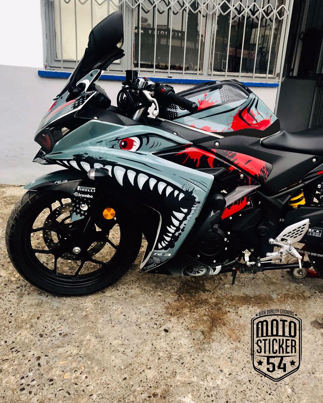 Yamaha R25 Turbo Shark Grey Design Sticker Kit