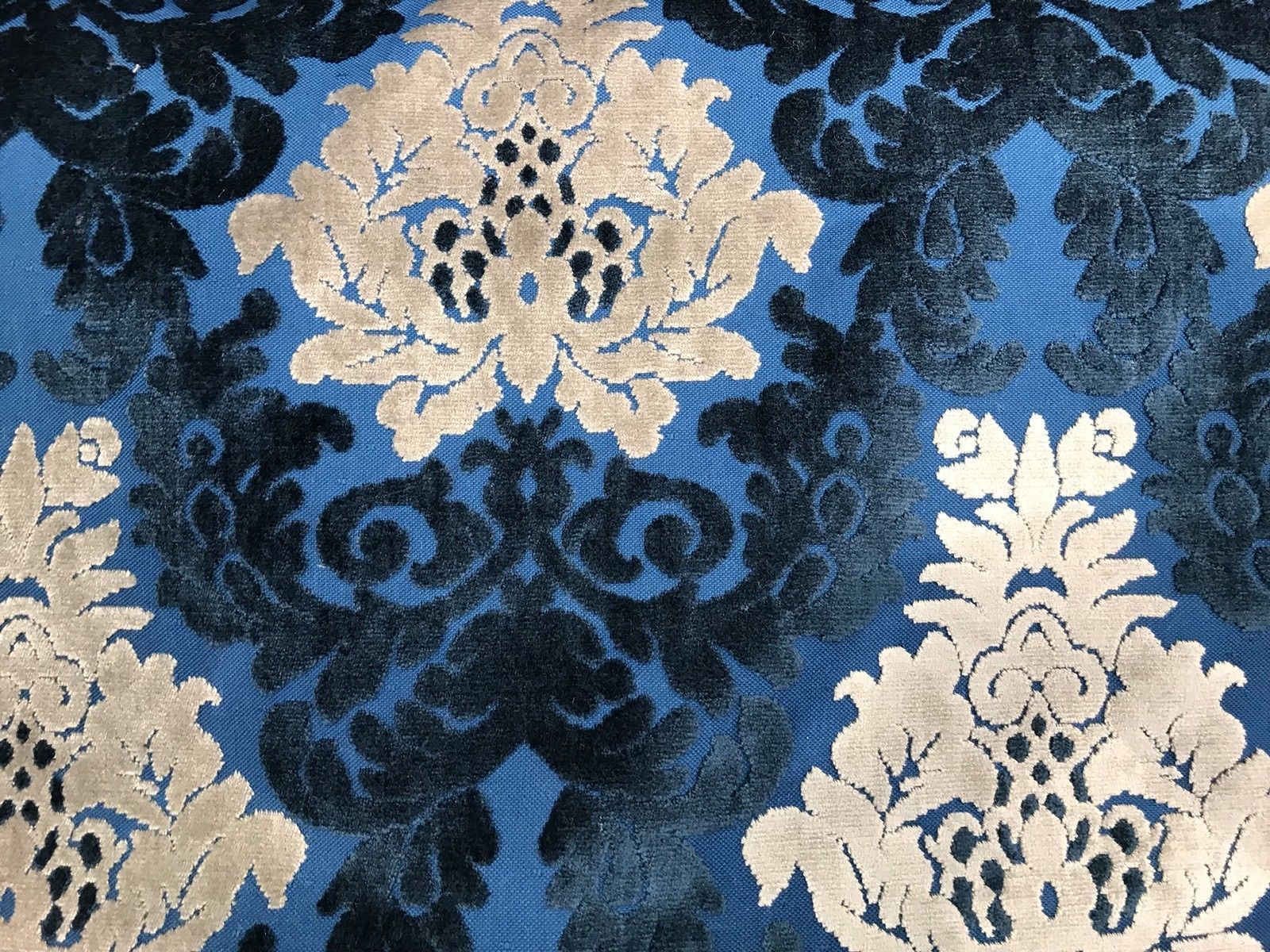 Embroidery Textured Damask Floral Pattern Blue Yellow Chenille Upholstery Fabric