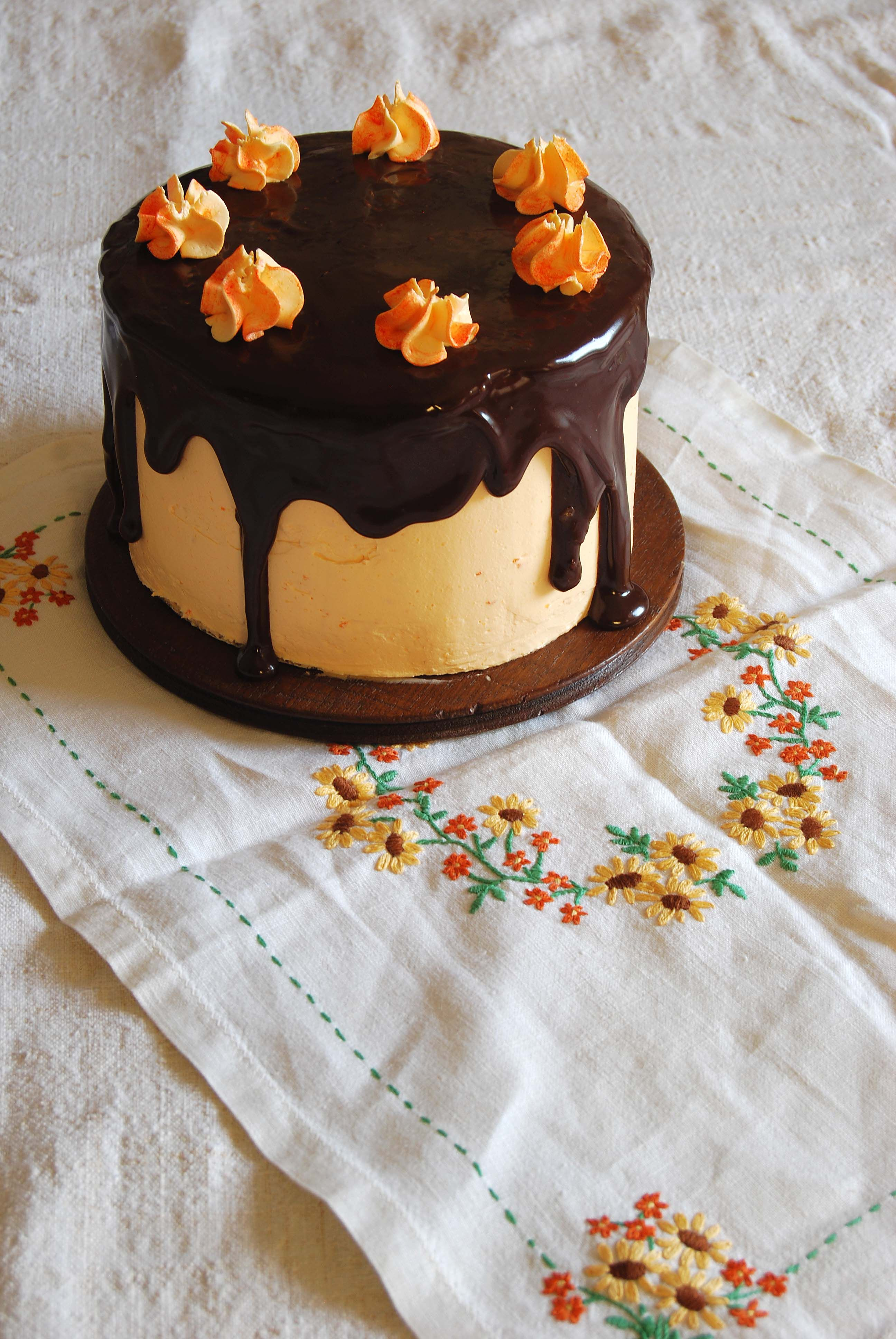 Chocolate Cake with Seville Orange Curd Buttercream and