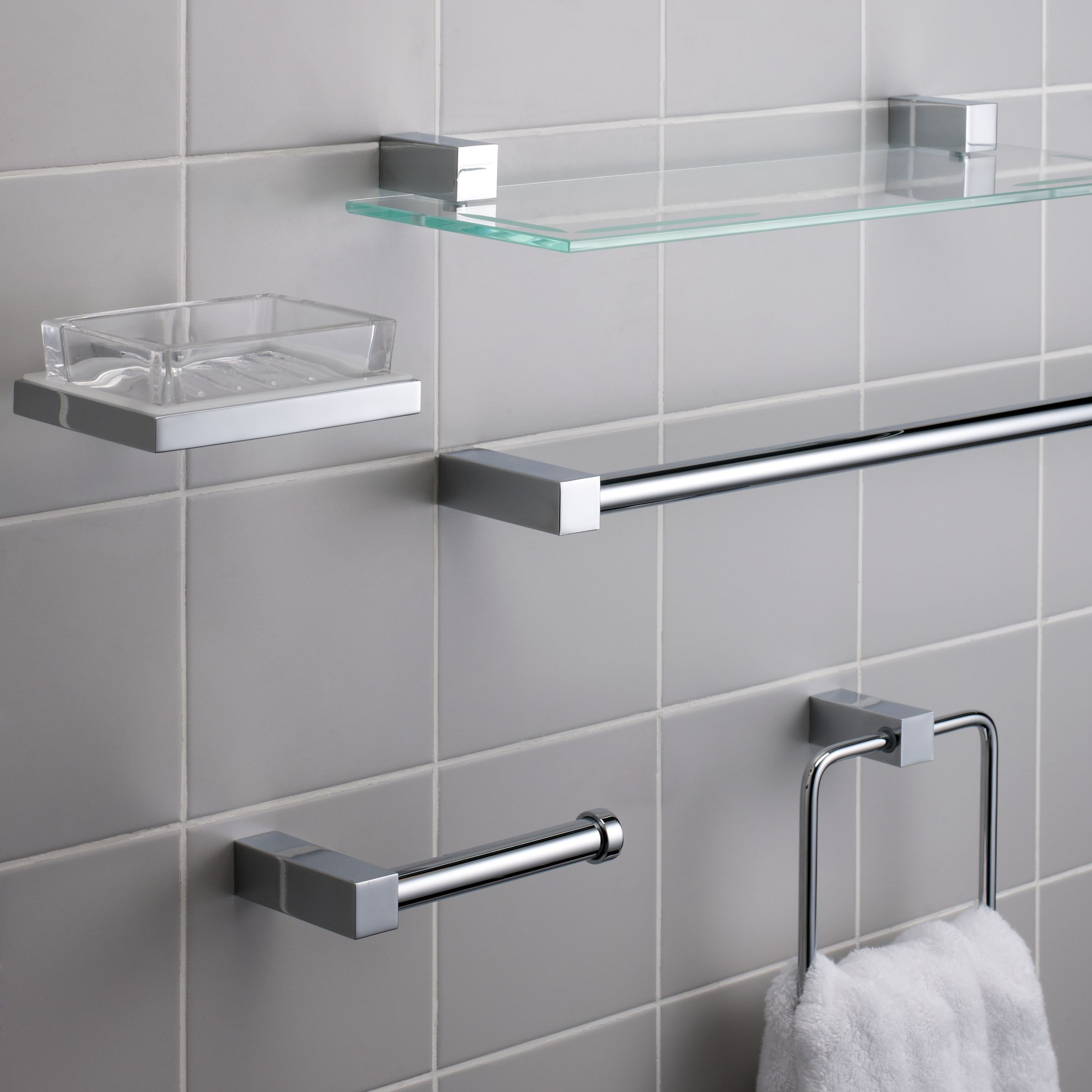 John Lewis Partners Ice Tumbler And Holder Toilet Roll Holder Towel Rail Toilet Roll Holder Stainless Steel