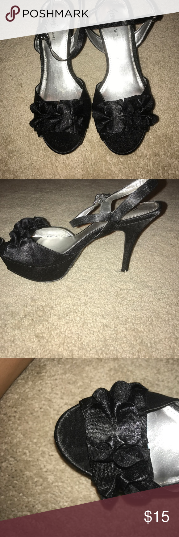 Black heel with ruffle black satin strappy heels with ruffle detail