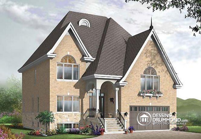 W3710-V1 - Plan de maison moderne, 3 chambres, grand vestibule - plan de maison a etage moderne