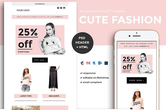 Fashion Email Template Ecommerce Email Template Mailchimp EDM - Edm email template