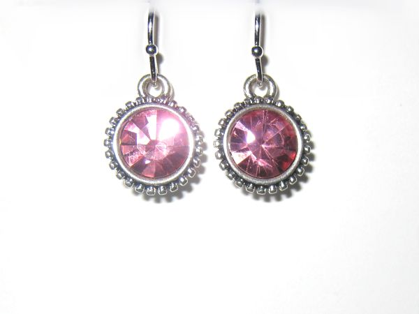 Silver Cubic Zirconia Earring with Cerise Pink Crystal €15