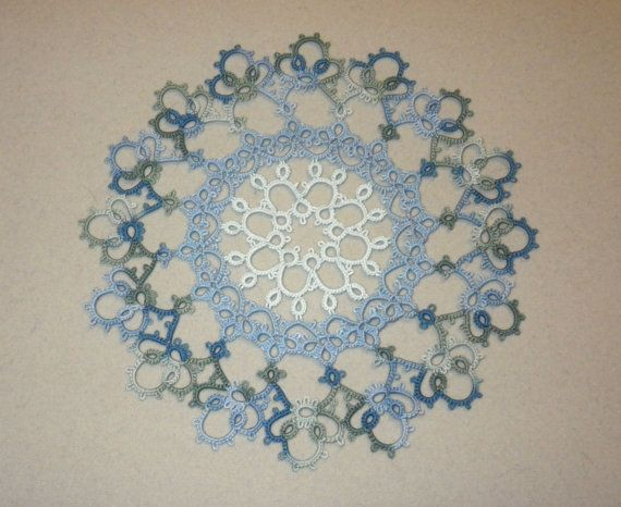 tatted lace doily, tatting, blue, aqua, green, impressionist colors, monet waterlily, water lily