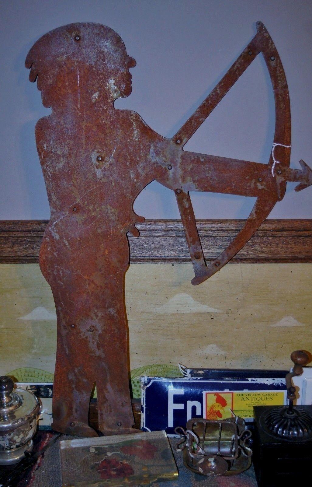 Antique sheet iron weather vane native american w bow u arrow