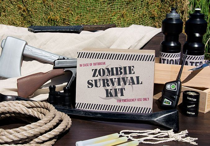 Zombie Apocalypse Halloween Party Theme #zombieapocalypseparty Zombie Apocalypse Halloween Party Theme. Guests will need their own zombie survival kits to get through the zombie apocalypse unharmed. Rope, glow sticks, and toy weapons are all important additions to any survival kit, and kids will have tons of fun with them, too. #partyideas #Halloween #OrangeTuesday #zombieapocalypseparty