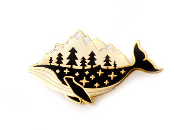 Gold Whale Enamel Pin (hard enamel pin lapel pin badge enamel jewelry cute whale pin jewelry mountains whale cloisonne backpack pins)