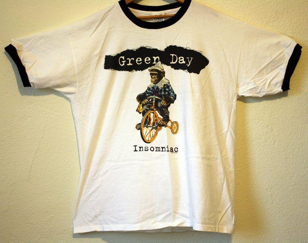 52735a03 Vintage Green Day 1995 Insomniac XL Tour Shirt Billie Joe Pop Punk 90s Rare!