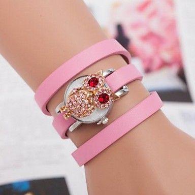 vrouwen vintage uil lederen armband quartz horloge (verschillende kleuren) – EUR € 10.99