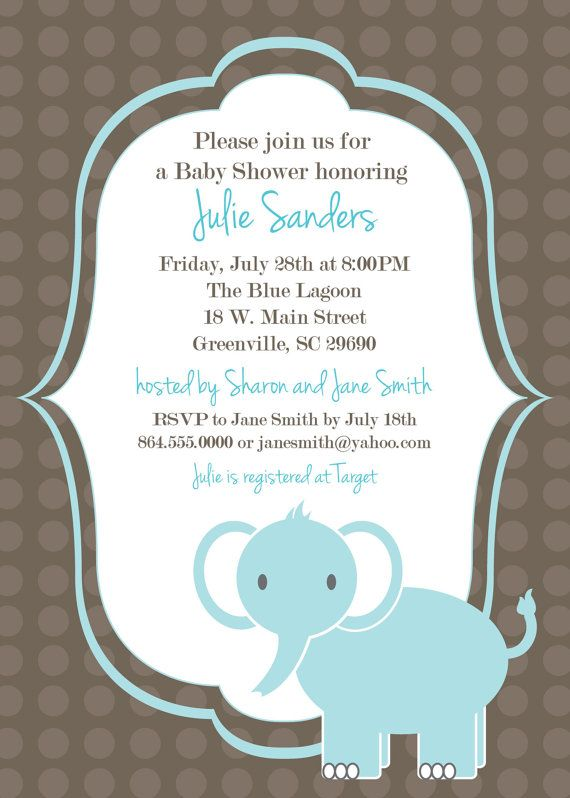 Printable Baby Shower Invitation Elephant , Boy, Light Blue ...