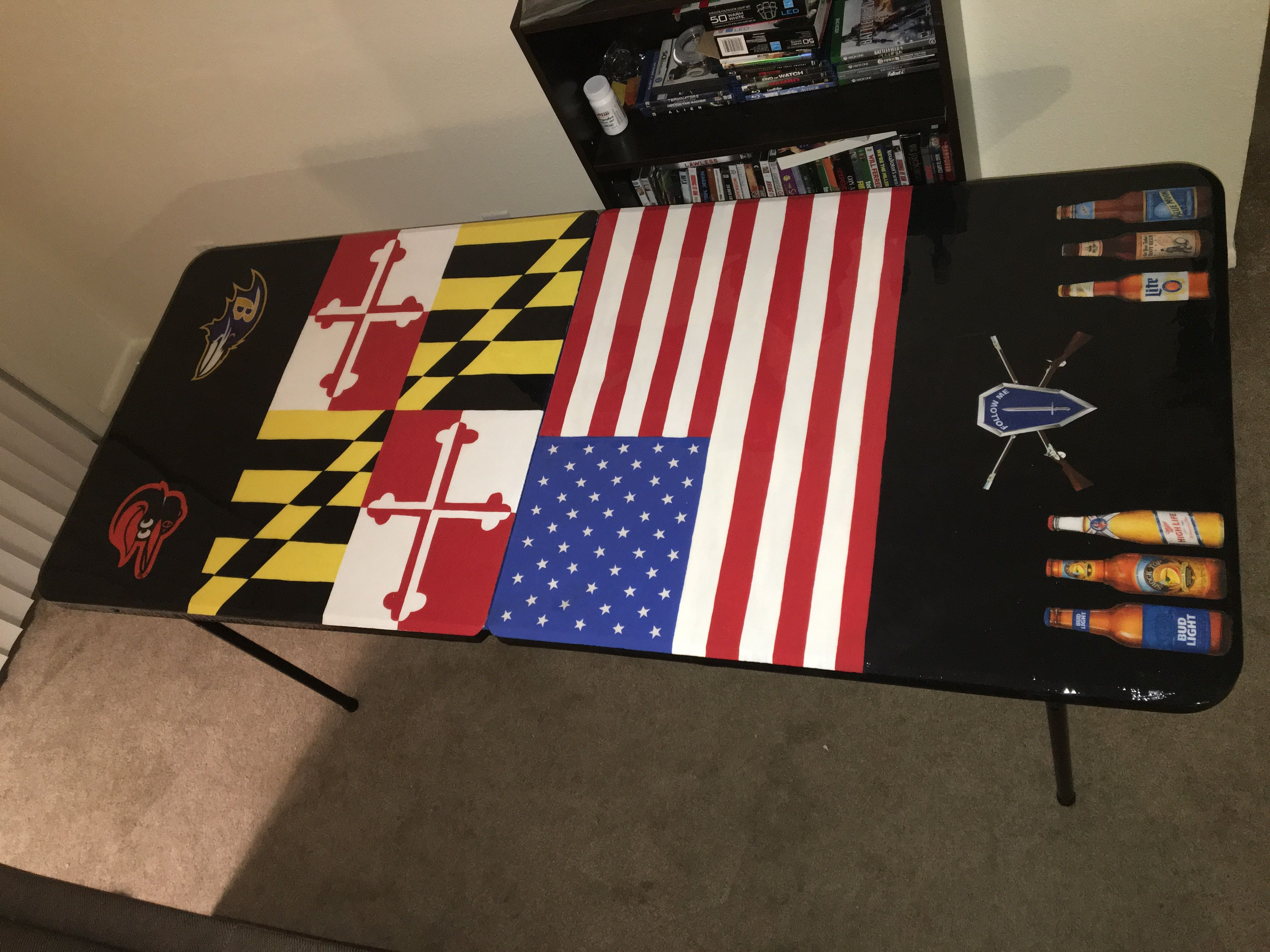 A beer pong table painted with acrylic paint. Process was