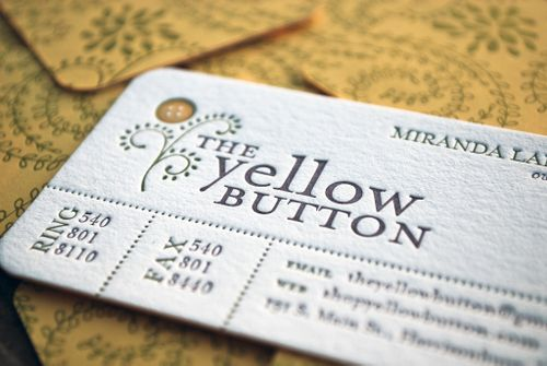 The yellow button business cards business and letterpresses love this layout for business cards colourmoves