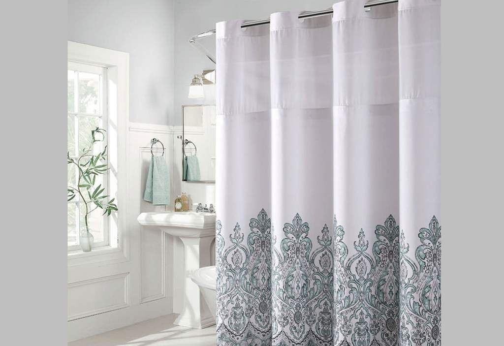 Hookless Damask Border Print Shower Curtain Includes Snap On Off Replaceable Liner Printed Shower Curtain Shower Curtain Sets