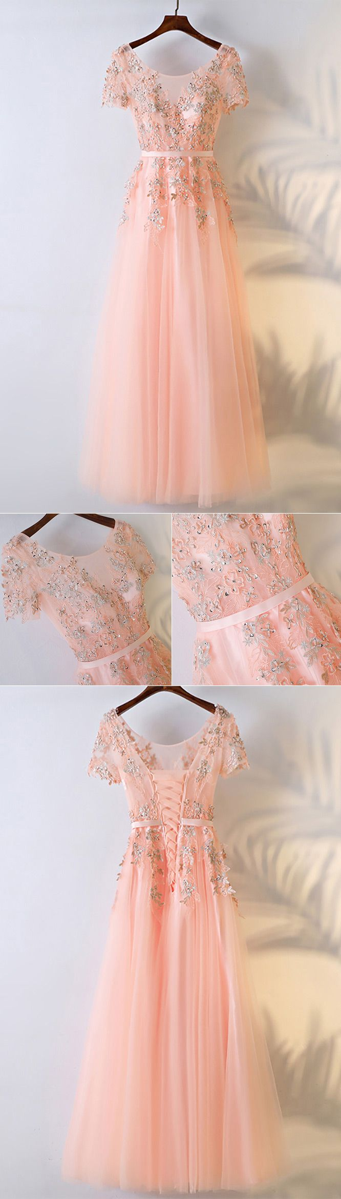Peachy pink round neck long prom dress with short sleeves myx